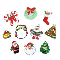 Wholesale Christmas Iron Transfers - 10PCS Christmas Series Patches for Kids Clothing Shoes Iron on Transfer Applique Patches for Garment Dress Bags DIY Sew on Embroidery Badge