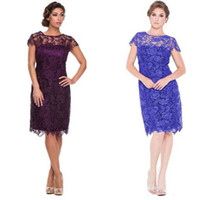 Wholesale Vintage Wedding Gowns For Sale - Hot Sale Mother off Bride Dresses Short Lace Knee Length Formal Gowns for Wedding Party Purple Maroon Royal Blue Bridesmaid Gowns Cheap