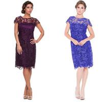 satılık mavi gelinlik toptan satış-Sıcak Satış Anne kapalı Gelin Elbiseler Kısa Dantel Diz Boyu Örgün Törenlerinde Düğün Parti için Mor Bordo Kraliyet Mavi Nedime törenlerinde Ucuz