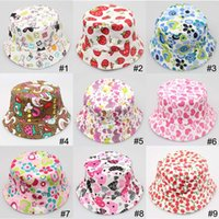 Wholesale Wholesale Basins - 36 Color Children Bucket Hat Casual Flower Sun Printed Basin Canvas Topee Kids Hats Baby Beanie Caps B001