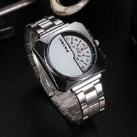 Wholesale Square Design Branded Watches - 2017 new fashion charm mens Square wrist Watch Half face Unique design brand name male quartz clock good quality men watches silver