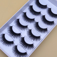 Wholesale Eyelashes Pairs - Hot Saleing Thick False EyeLashes Black False Eyelashes Makeup Tips Natural Smoky Makeup Long Fake Eye Lashes 1 Box 6 Pairs