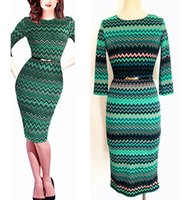 Wholesale Fashion Interviews - New Fashion Autumn Winter Office Interview Gown O-Neck Half Sleeve Wave Pattern Striped Stretch Bandage Bodycon Pencil Print Dress DK4447XL