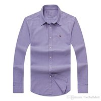 camisas de vestir de polo casual al por mayor-Venta al por mayor 2017 otoño e invierno de los hombres camisa de vestir de manga larga de los hombres puros casual POLO camisa moda Oxford camisa marca social ropa lar