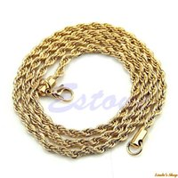 Wholesale New Cool Men Yellow Gold Filled Rope Chain Necklace Inches