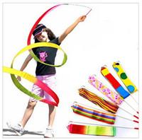 Wholesale Ribbon Batons - Multi Colour Gym Dance Ribbon Streamer Baton Twirling Rod Rhythmic Art Gymnastic Color Assort 4M
