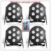 Wholesale Hot Led Dj - Wholesale-4pcs lot Free shipping hot sale Wireless remote control American DJ LED SlimPar 7x12W RGBW 4IN1 Wash Light Stage Uplighting
