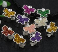 Wholesale Color Butterfly Beads - 50pcs lot Silver Enamel Assorted of Shinning Color Butterfly Big Hole Loose Beads European Bead Fit Bracelets 4.5mm Hole 7Colors