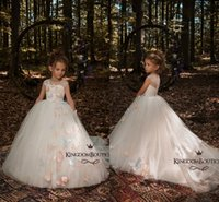 Wholesale Custom Pageant Wear - 2018 Ivory Cute 3D Butterfly Floral Appliques Flower Girls Dresses Cap Sleeves A Line Tulle Long Little Girls Pageant Dresses Formal Wears