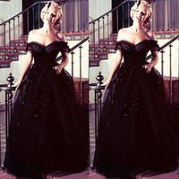 oscar için gece elbiseleri toptan satış-Marilyn Monroe oscars vintage Siyah Kapalı Omuz Arapça Akşam Gelinlik Modelleri Abiye Tül Sequins Yeni Varış Ünlü Parti Törenlerinde