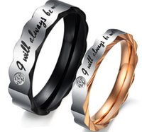 Wholesale Couple Wedding Rings Black Heart - 316L Stainless Steel Couple Rings OPK Romantic JEWELRY for Wedding Unique Design His and Her Promise Ring Valentine's Day Gift