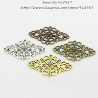 Wholesale Vintage Jewelry Connector - Wholesale-30pcs lot Four color Hollow Filigree Flower Charm Jewelry Connectors 24*41mm Vintage Filigree Jewelry Findings D0432