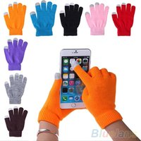 Wholesale-Unisex Womens Mens Soft Knitted Wool Hand Wrist Warmer Winter Touch Screen Gloves For Phones 8 Colors Chosen