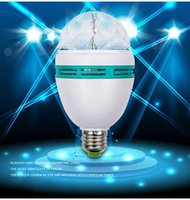 renkli ampul dönüyor toptan satış-Promosyon Sihirli Topu RGB Tam Renkli 3 W E27 LED Ampul Kristal Oto Döner Sahne Etkisi DJ Ampul Mini lazer Sahne Işık