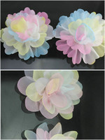 Wholesale Dye Pastel - 50pcs mix styles Tie-Dye pastel color handmade colorful silk organza Rosette Flowers approx 85mm