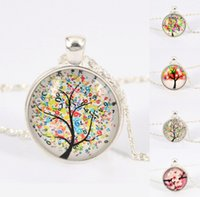 Wholesale Picture Christmas Tree - women necklace tree Pendant necklace life tree picture Glass Cabochons silver color chain Necklace fashion jewelry Vintage Jewelry ty