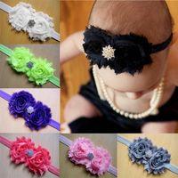 bebek kafa bantları kristalleri toptan satış-2015 sıcak satış Dantel Çiçek Bebek Headbands kristal Çocuk Kız Bantlar Çocuk Saç Aksesuarları Sevimli Elastik Bebek Headbands