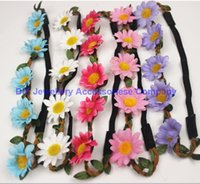 Wholesale Sunflower Headbands - Free shipping Bohemian Headband for Women three Flowers Braided Leather Elastic Headwrap sunflower hair band Assorted Colors Hair Ornaments