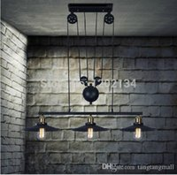 Wholesale Low Price Pendant Lighting - Low price 3 cover Loft vintage lift Restoring Ancient Way Industrial Country pulley pendant lights,cord adjusting droplight lamp A3