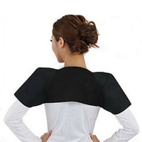 Wholesale Thermal Brace - Shoulder Pad Belt Magnetic Therapy Thermal Tourmaline Self Heating Magnetic Double Shoulder Brace Support Protector Pain Relief 10Pcs Lot