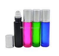 Wholesale Mixing Fragrance Oils - 10ml GLASS BOTTLE Fragrances ESSENTIAL OIL stainless steel Roller Ball Blue Green Pink Black Mixed colors by DHL Free Shipping