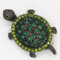 12pcs / lot Vente en gros Cristal Rhinestone Tortue Broches Mode Costume Pin broche bijoux cadeau C337