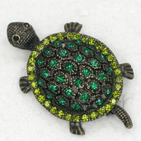 Wholesale Turtle Rhinestone Jewelry - 12pcs lot Wholesale Crystal Rhinestone Turtle Brooches Fashion Costume Pin Brooch jewelry gift C337