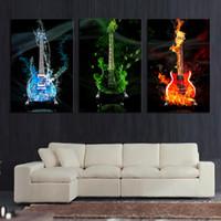 kunstmalerei gitarre großhandel-3 Stück Abstrakt die Flamme Gitarre HD Wandbild Home Decor Kunstdruck Malerei Auf Leinwand Für Wohnzimmer Ungerahmt Kostenloser Versand
