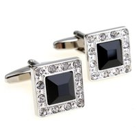 Wholesale French Diamonds - A Pair square Men's Cufflinks Diamond Black Stone For Mens French Cufflinks for any occasions with Gift Box