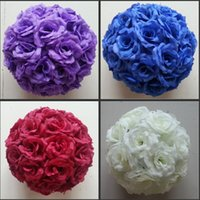 Wholesale Silver Kissing Balls - 16 Colors 15 CM to 50cm Available Upscale Artificial Silk Flower Ball Hanging Rose Kissing Balls For Wedding Party Decoration Supplies