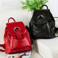 Wholesale Double Han - 2017 New Cowhide Double Shoulder Bag Female Han Version of Stylish Leather Handbag Multi-function
