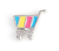 Wholesale fashion shopping cart - 20PCS lot Shopping Cart Alloy Floating Locket Charms Fit For DIY Magnetic Glass Living Memory Locket Fashion Jewelrys