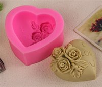 Wholesale Heart Flower Soap Molds - Hot 3D Silicone Rose flower Cake mold heart shape chocolate candy Molds Soap Ice rose cake mold for valentine's day gift