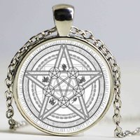 Wholesale gypsy pendant - Magic Circle Space Moon Star Ouija Wicca Gypsy Pentagram Witch Steampunk Pendant Necklace Silver Bronze Chain Hexagon Necklace