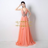 Wholesale Key Cap Light - Sexy Beaded Plunging V Neck pleated Sheer Illusion Waist Open Key hole Coral Prom Dresses 2018 New Pageant Party Celebrity Dress ZAHY