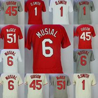 Wholesale Musial Jersey - #1 Ozzie Smith #6 Stan Musial #51 Willie McGee #45 Bob Gibson Jersey Men All Stitched Flexbase Onfiled Baseball Jerseys
