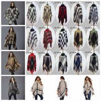 Plaid Poncho Grid Sweater Wraps Mulheres Capa Coats Vintage Shawl Cardigan Tassel Moda Knit Scarves Tartan Winter Cape Cobertores YYA764