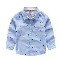 Wholesale T Shirt Printing Korea - Gentle 2016 Spring summer Korea kids clothing England print shirts for wedding boy long sleeve t shirt kids clothing wholesale