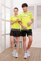 Wholesale Team Sports Apparel Wholesale - Wholesale-2015 Li-Ning Badminton Sport Polo shirt Quick Dry Men's and Women's Tennis Polo Team Sports Apparel