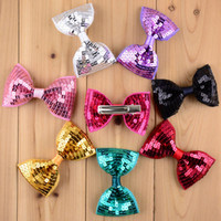 Wholesale Christmas Hair Clips Kids - New Christmas 19 Colors 30pcs lot Embroidery Sequin Bows WITH CLIP For Baby Girls Christmas Gifts Kids Hair DIY Accessories