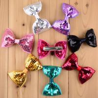 arco bordado al por mayor-Nueva navidad 19 colores 30 unids / lote bordado de lentejuelas arcos con clip para niñas regalos de navidad para niños cabello accesorios de bricolaje