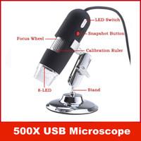 câmera pc portátil venda por atacado-Portátil USB 2MP 50-500X USB Microscópio Digital Endoscópio Magnifier 8 LED Camera Cam PC Computador
