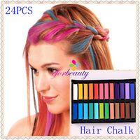 Wholesale Hair Chalk Dye Soft Pastels - 24 Hot Color Hair Chalk Temporary Hair Dye Colour Salon Kit Soft Pastels Non Toxic 1set