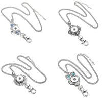 Wholesale Wholesale Rhinestone Neck Lanyards - Chunks Vintage Crystal Keyrings Snap Necklace Jewelry Noosa 18mm Snap Button Necklaces Button Keychains Lanyard Pendant Neck for Women