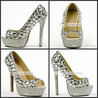 Wholesale Silver Beaded Peep Toe Heels - 2015 Luxury Wedding Shoes With Rhinestone Crystals Peep Toe High Heel Custom Made Modest Woman's Party Prom Platform Bridal Shoes MA0245