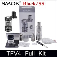 Wholesale Mod Full - SMOK TFV4 Atomizer clone Full Kit Sub ohm Tank 5ml DIY RBA Base Smooktech TFV4 Kit fit Xcube II Box Mod