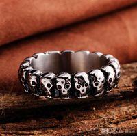 fabricants de bague d'imitation achat en gros de-Haute qualité Hommes exagéré rétro punk anneau de crâne en acier inoxydable anneau titane acier bijoux fabricants livraison gratuite