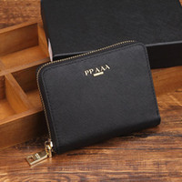 Wholesale Vintage Box Purses - High quality leather wallets Women's pocket wallet Fashion designer purses Metal zipper European-style purse with box