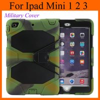 Wholesale Screen Protector Ipad Mini Back - shockproof Heavy-Duty Case cover w  Stand Military Cover with Screen Protector for Apple iPad mini ipda mini 2 smart cases back cover PCC003