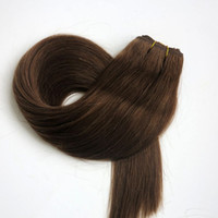 Wholesale free black hair products - 100% Human hair wefts Brazilian hair weaves 100g 22inch #6 Medium Brown Straight hair extensions tangle free Indian hair products